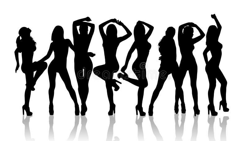 Grupo de baile de las muchachas de la silueta stock de ilustración