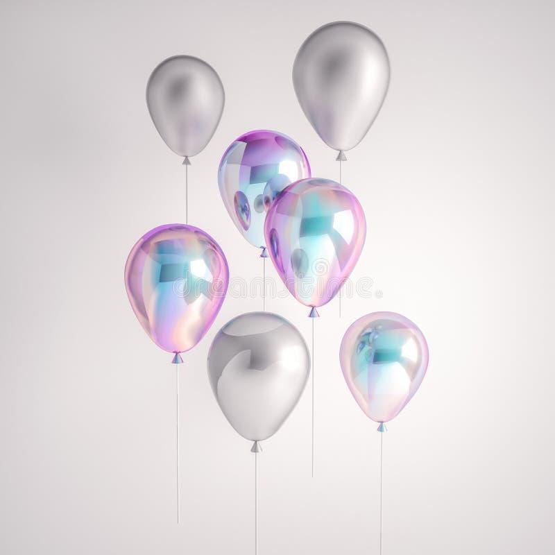 Grupo de balões da folha holográfica e de prata da iridescência isolados no fundo cinzento Elementos realísticos na moda do proje ilustração do vetor