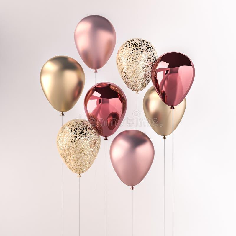 Grupo de balões lustrosos cor-de-rosa e dourados na vara com sparkles no fundo branco 3D rendem para o aniversário, o partido, o  ilustração do vetor