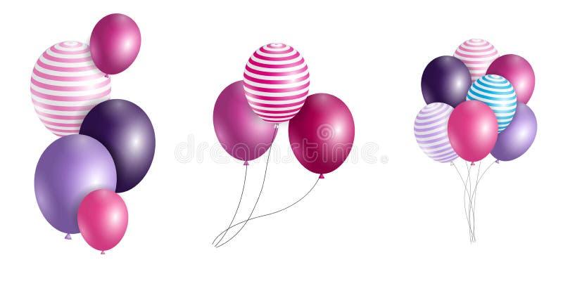 Grupo de balões lustrosos do hélio da cor isolados no fundo de Transperent Grupo de balões e de bandeiras para Birthd ilustração royalty free