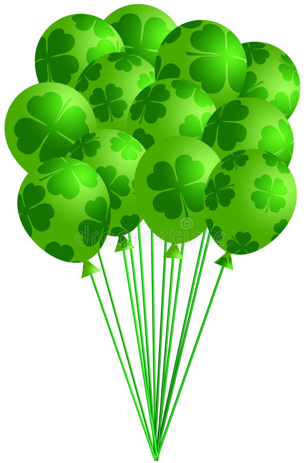 Grupo de balões verdes irlandeses com Shamrocks ilustração stock