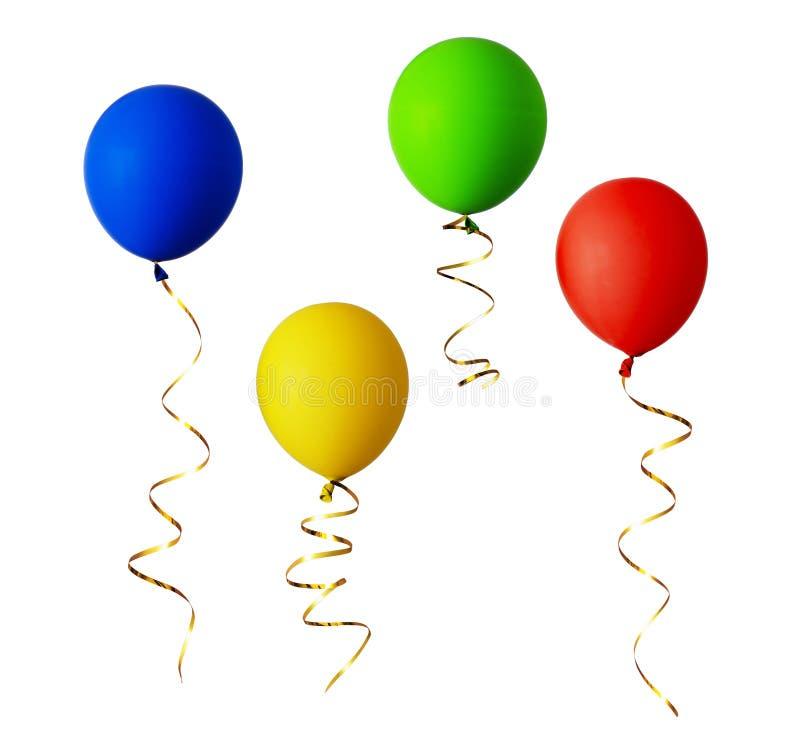 Grupo de balões vermelhos, azuis, verdes e amarelos com fitas do ouro foto de stock