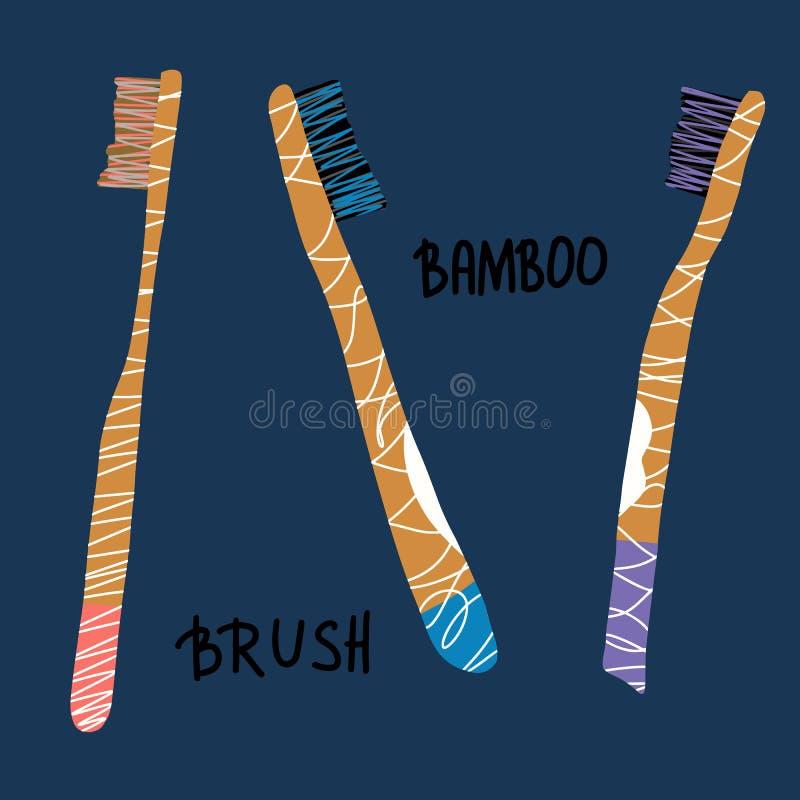 Grupo de bambu das escovas de dentes Ilustração do vetor ilustração royalty free