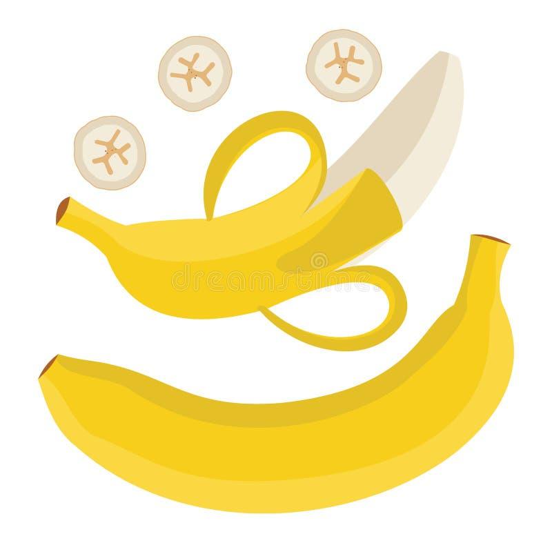 Grupo de bananas Única banana Banana descascada e b cortado ilustração stock