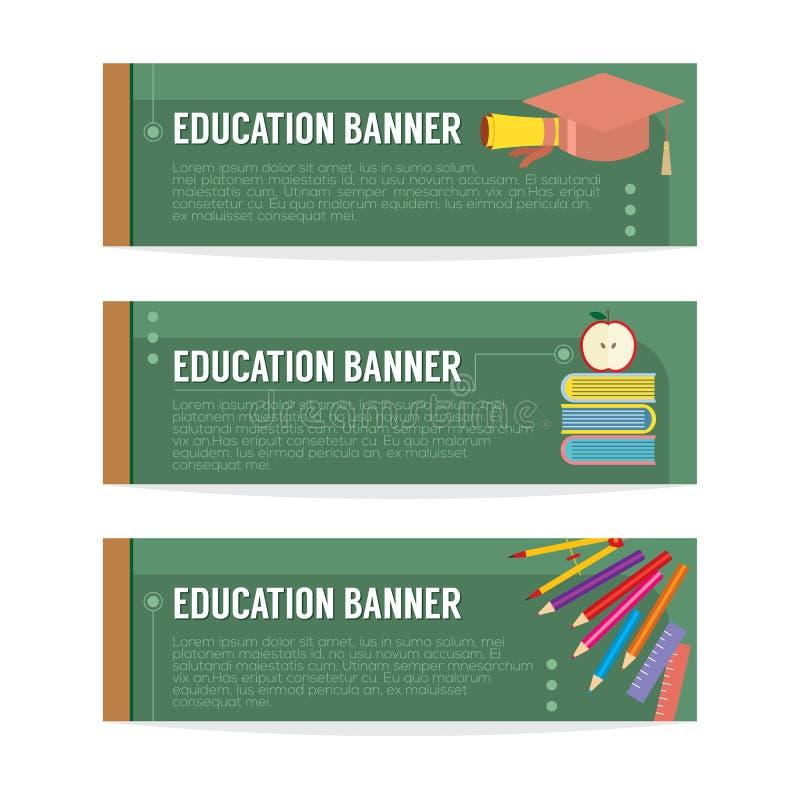 Grupo de bandeira da educação ilustração stock