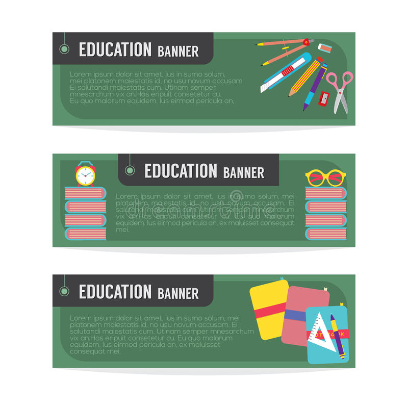 Grupo de bandeira da educação ilustração do vetor