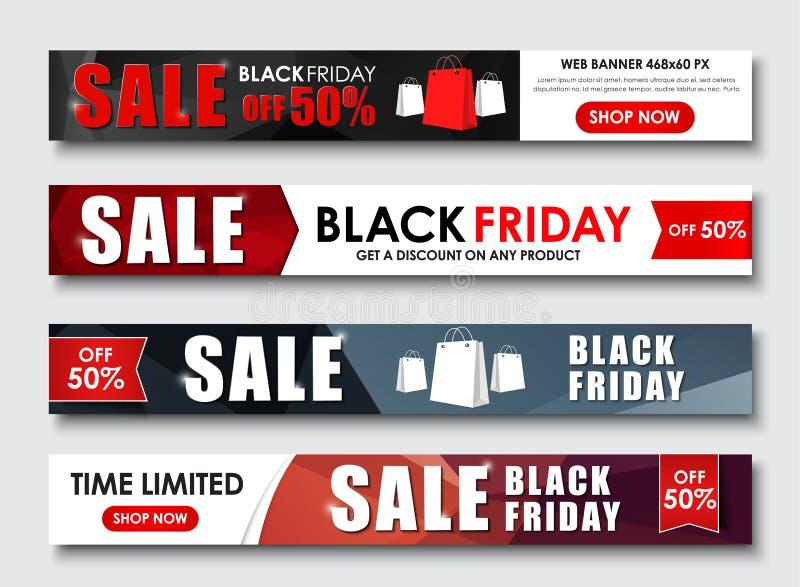 Grupo de bandeira da Web para vendas em Black Friday ilustração royalty free