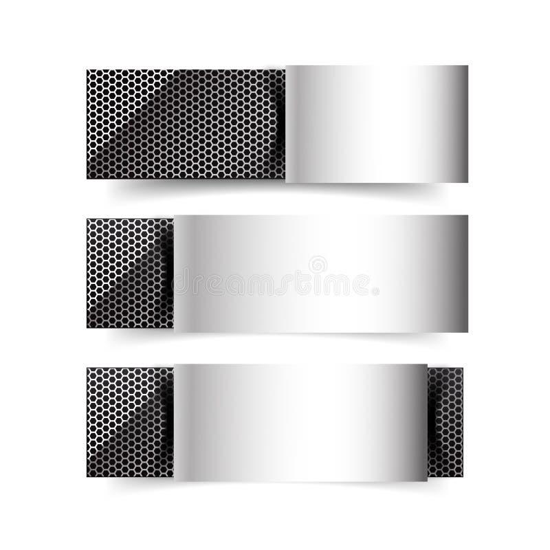 Grupo de bandeira do cromo do metal no fundo branco ilustração stock
