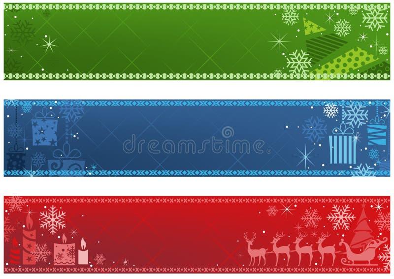 Grupo de bandeira do Natal três em três cores ilustração royalty free