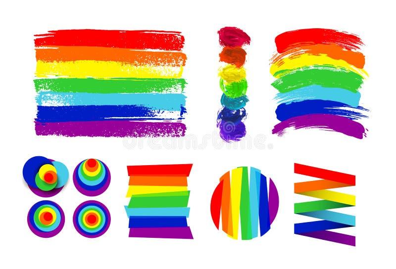 Grupo de bandeira de LGBT, de círculo e de pontos da cor contra a discriminação homossexual Mão desenhada Arco-íris Ilustração do ilustração royalty free