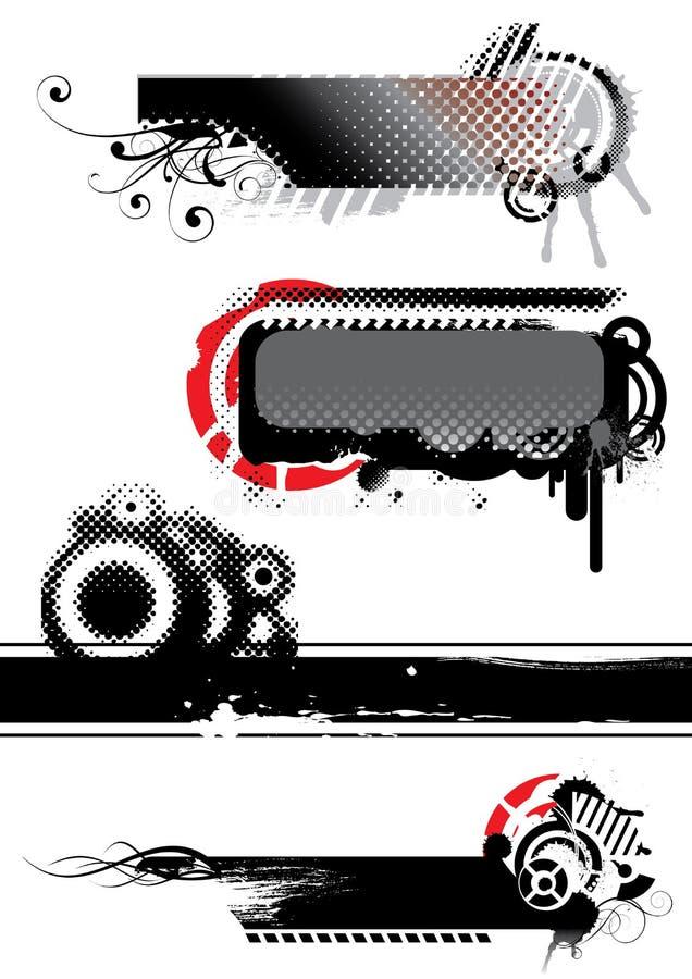 Grupo de bandeiras abstratas pretas ilustração do vetor