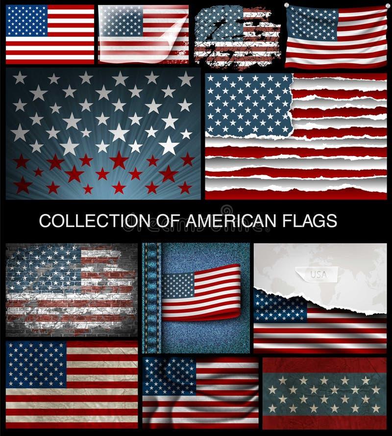 Grupo de bandeiras americanas de tornar-se e de vintage ilustração stock