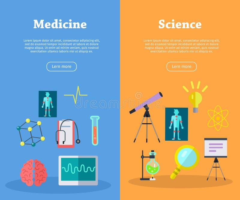 Grupo de bandeiras científicas da Web do vetor no estilo liso ilustração do vetor
