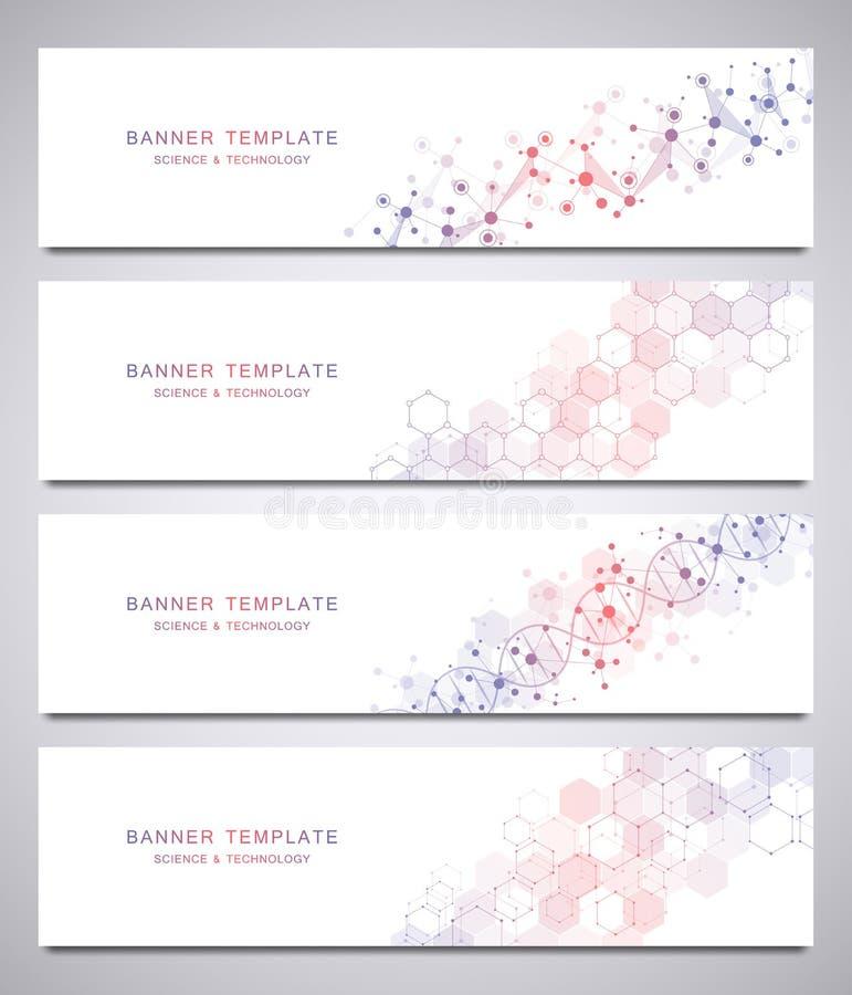 Grupo de bandeiras científicas e tecnologicos do vetor Fundo abstrato com estruturas moleculars ilustração stock