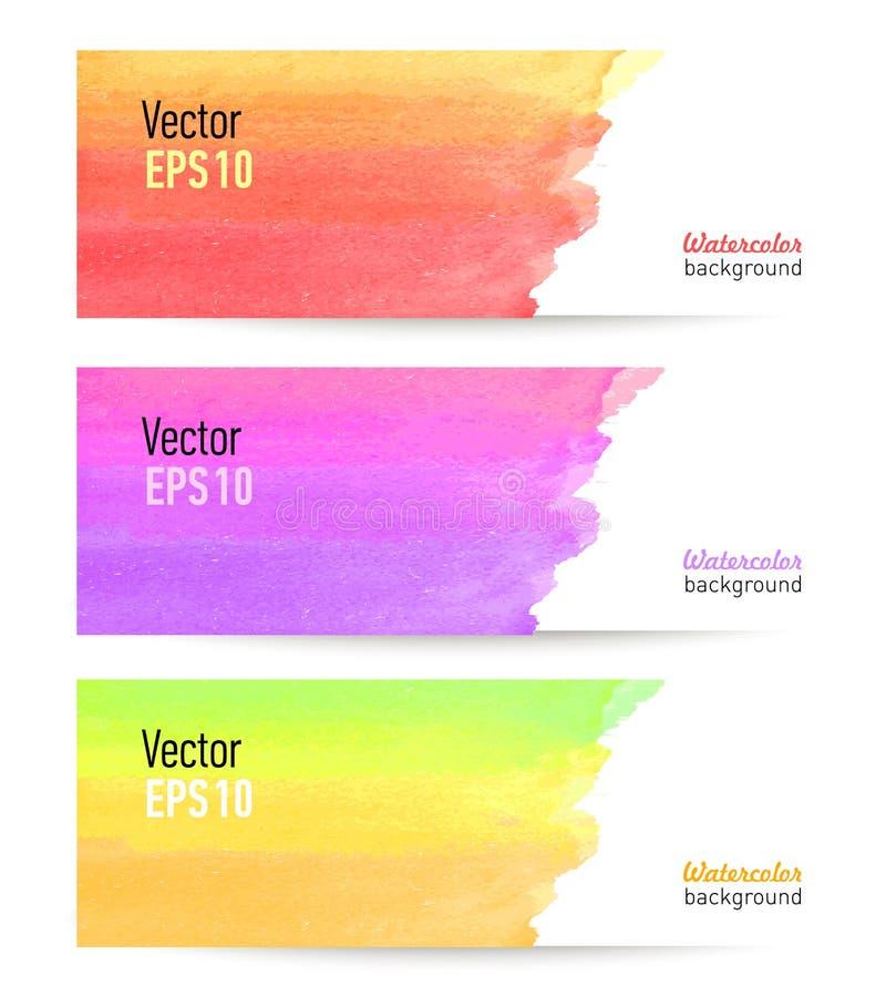 Grupo de bandeiras coloridas com manchas da água-cor ilustração stock