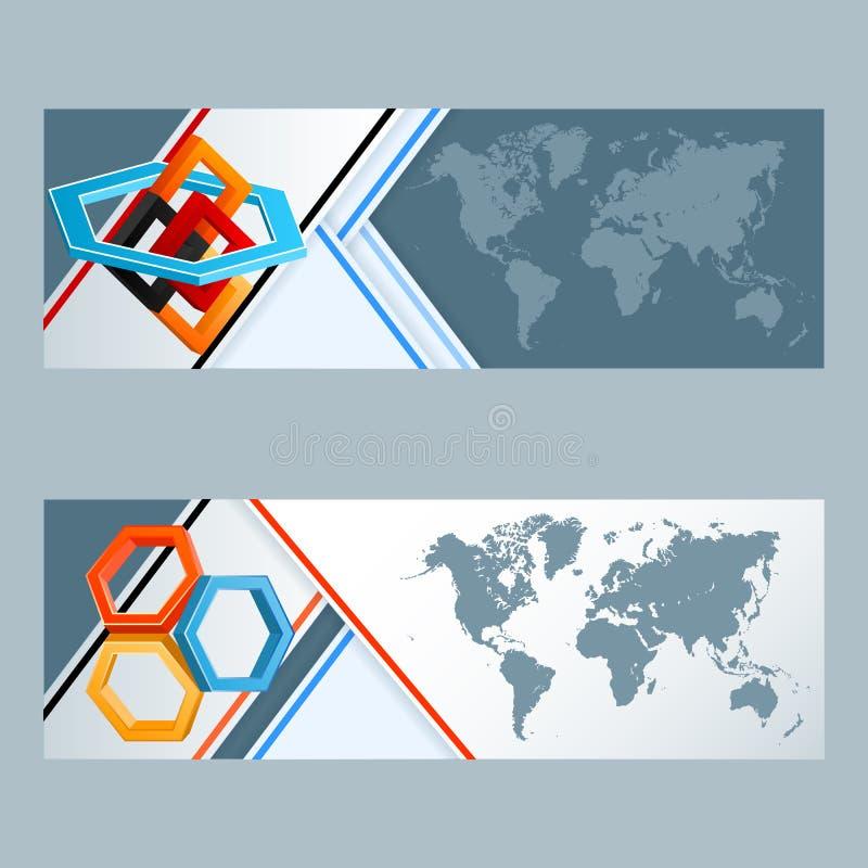 Grupo de bandeiras com composição geométrica de três dimensões com hexágonos e quadrados ilustração stock