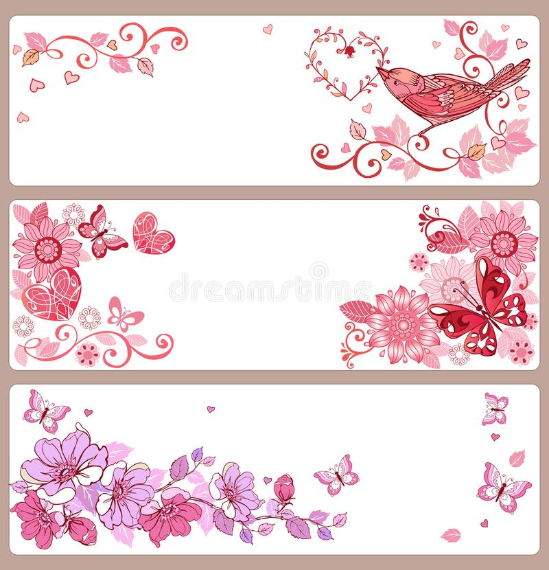 Grupo de bandeiras com corações e de borboletas para o dia do ` s do Valentim, ilustração stock