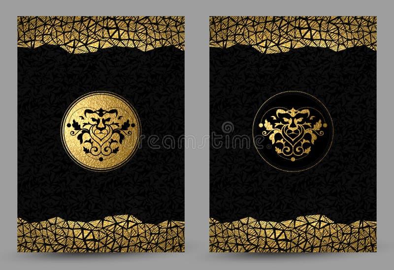 Grupo de bandeiras com a decoração dourada e preta estilizado da textura da cabeça e do ouro do leão no fundo preto ilustração royalty free