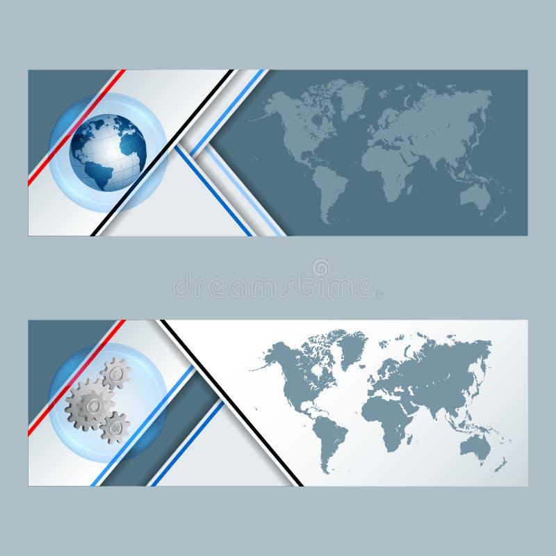Grupo de bandeiras com globo, rodas denteadas e mapa do mundo da terra ilustração royalty free