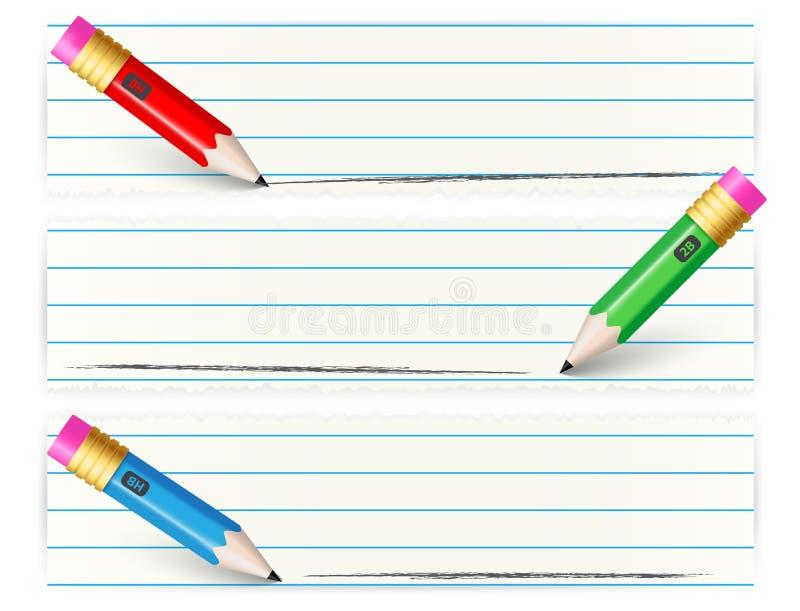 Grupo de bandeiras com lápis colorido ilustração stock