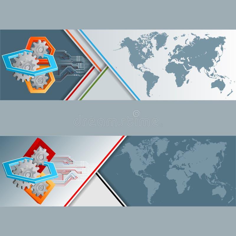 Grupo de bandeiras com mapa do mundo e arranjo de três dimensões ilustração do vetor