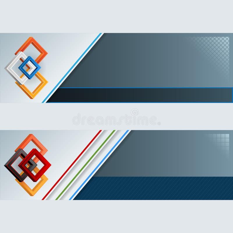 Grupo de bandeiras com três quadrados coloridos das dimensões ilustração royalty free