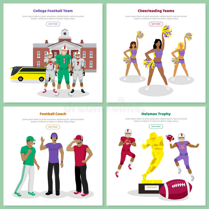 Grupo de bandeiras conceptuais da Web do futebol americano ilustração do vetor