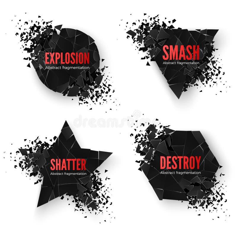 Grupo de bandeiras criativas geométricas com espaço para o texto Formas da destruição do círculo e do hexágono, da estrela e do t ilustração do vetor