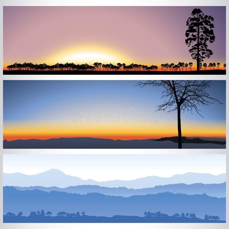 Download Grupo De Bandeiras Da Floresta Da Natureza Ilustração do Vetor - Ilustração de sunshine, sunset: 65578491