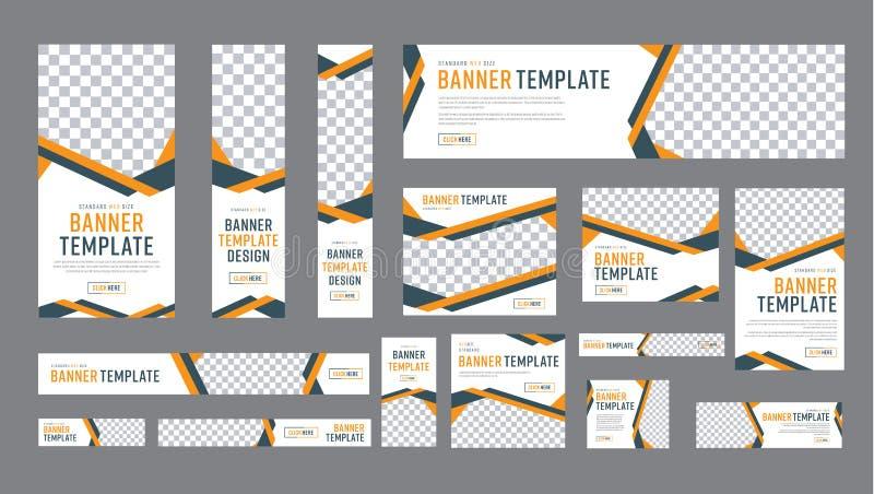 Grupo de bandeiras da Web do tamanho padrão com um lugar para fotos ilustração royalty free