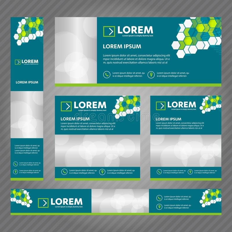 Grupo de bandeiras da Web em tamanhos padrão Os moldes abstratos do vetor projetam com fundo e encabeçamento, listras diagonais e ilustração do vetor