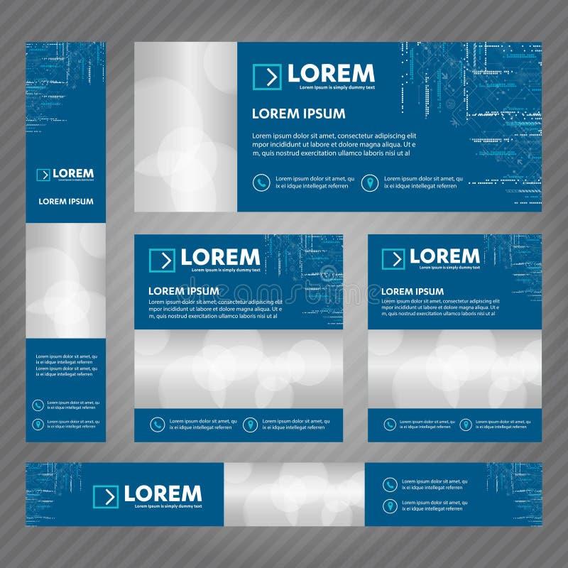 Grupo de bandeiras da Web em tamanhos padrão Os moldes abstratos do vetor projetam com fundo e encabeçamento, listras diagonais e ilustração stock