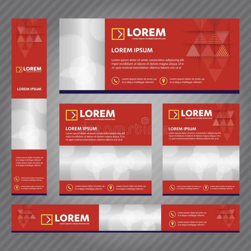 Grupo de bandeiras da Web em tamanhos padrão Os moldes abstratos do vetor projetam com fundo e encabeçamento, listras diagonais e ilustração royalty free