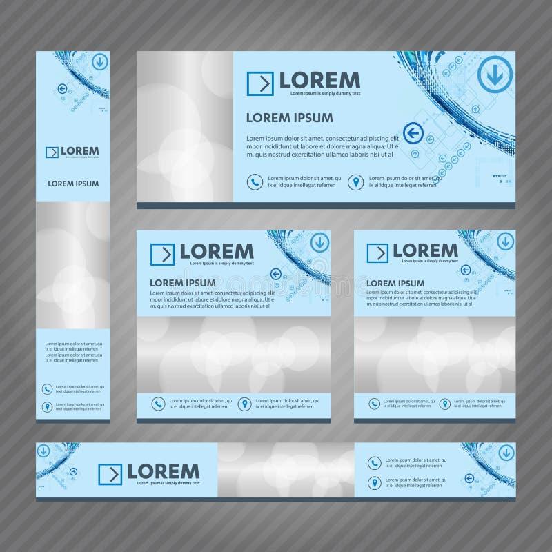 Grupo de bandeiras da Web em tamanhos padrão Projeto abstrato dos moldes do vetor ilustração royalty free