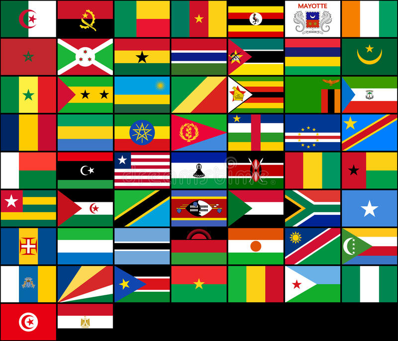 Grupo de bandeiras de países africanos Bandeiras do vetor de ilustração do vetor