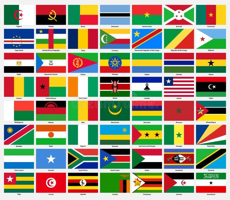 Grupo de bandeiras de todos os países africanos ilustração royalty free