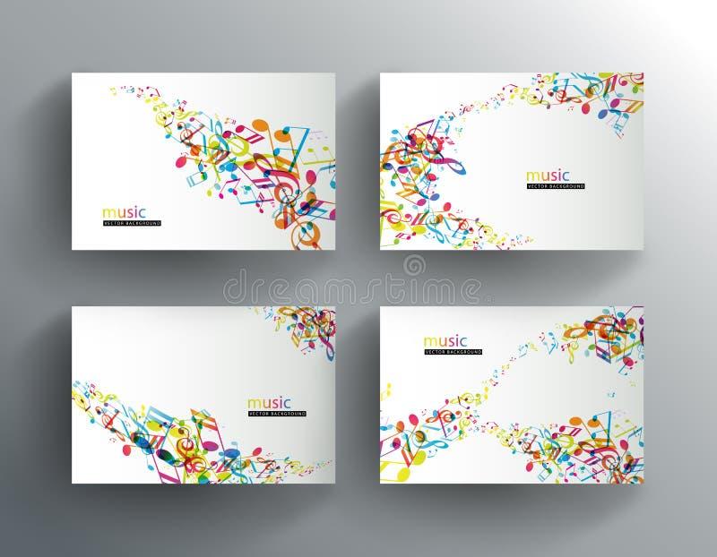 Grupo de bandeiras do Web site com notas coloridas da música ilustração do vetor
