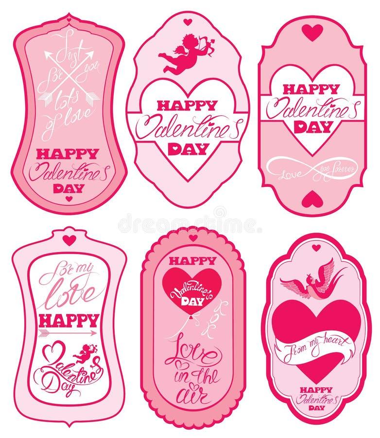 Grupo de bandeiras e de etiquetas do feriado em cores cor-de-rosa Quadros, beira ilustração royalty free