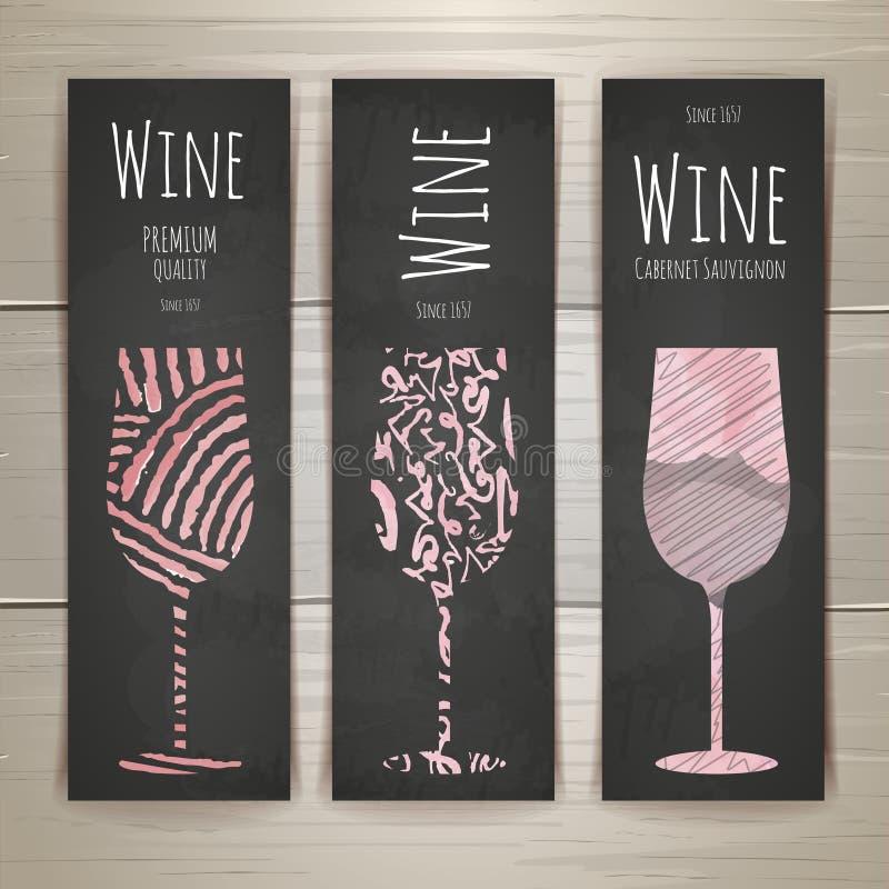 Grupo de bandeiras e de etiquetas do vidro de vinho da arte ilustração royalty free