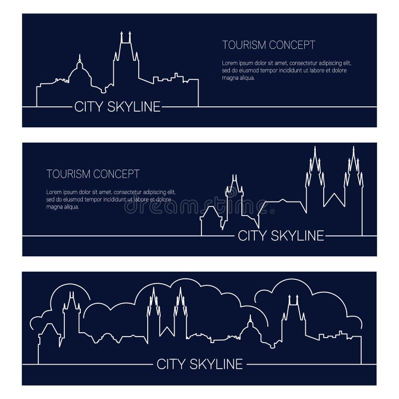 Grupo de bandeiras europeias da cidade Silhuetas lineares das arquiteturas da cidade ilustração stock