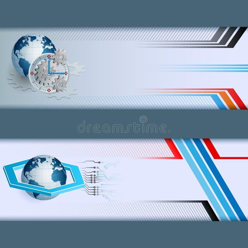 Grupo de bandeiras feitas da composição com globo da terra, hexágono de três dimensões, engrenagem ilustração do vetor