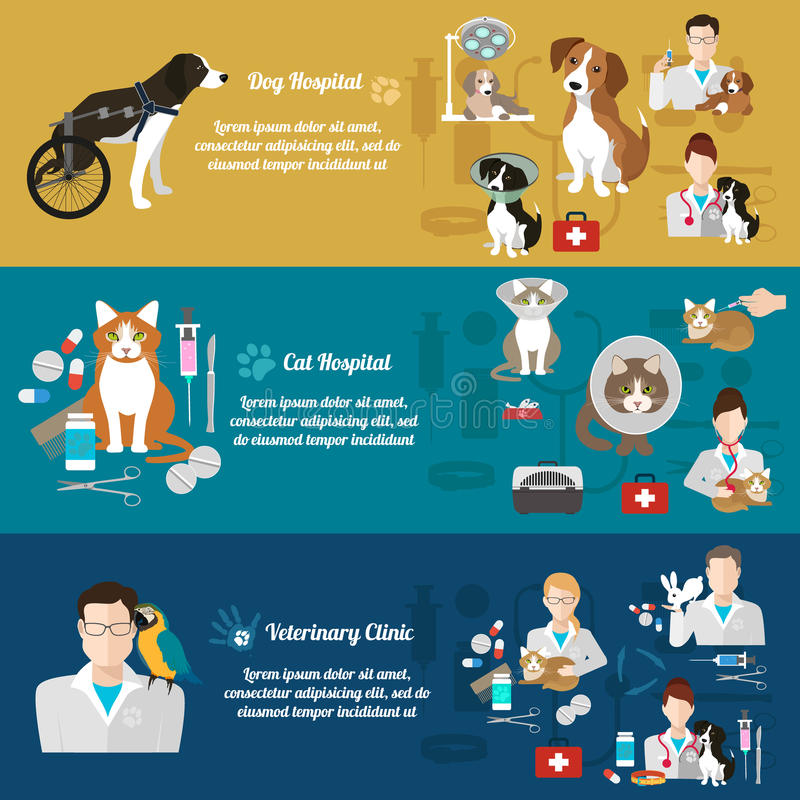 Grupo de bandeiras horizontais Animal de estimação care Clínica do veterinário Projeto liso ilustração stock