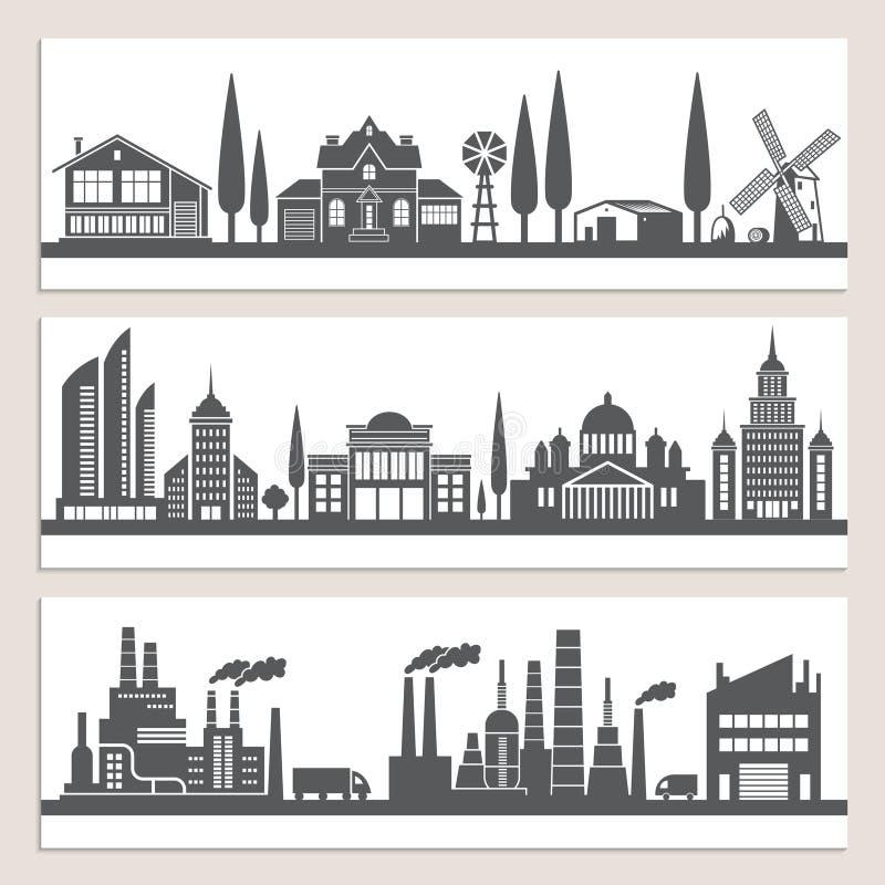 Grupo de bandeiras horizontais com ilustrações monocromáticas de paisagens urbanas Silhueta de construções modernas ilustração royalty free