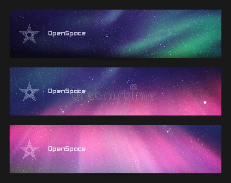 Grupo de bandeiras horizontais com o céu e aurora boreal estrelados bonitos ilustração do vetor