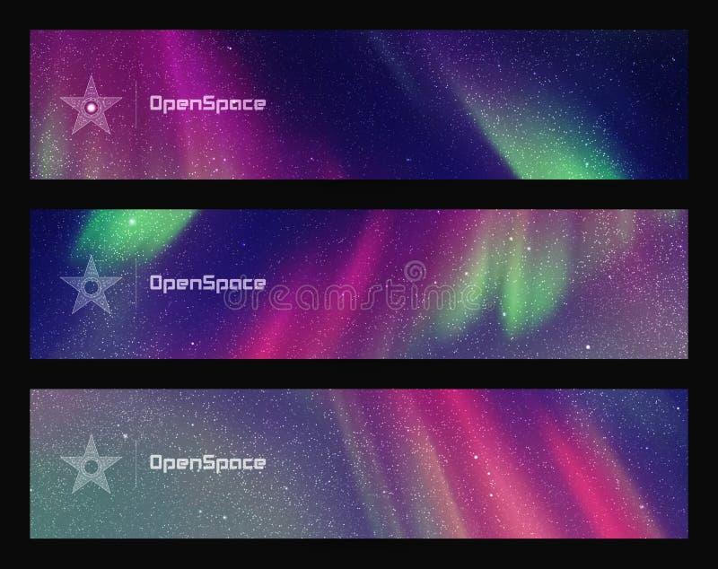 Grupo de bandeiras horizontais com o céu e aurora boreal estrelados bonitos ilustração royalty free