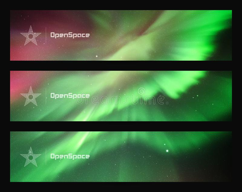 Grupo de bandeiras horizontais com o céu e aurora boreal estrelados bonitos ilustração stock
