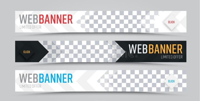 Grupo de bandeiras horizontais da Web do vetor com lugar para a foto ilustração do vetor