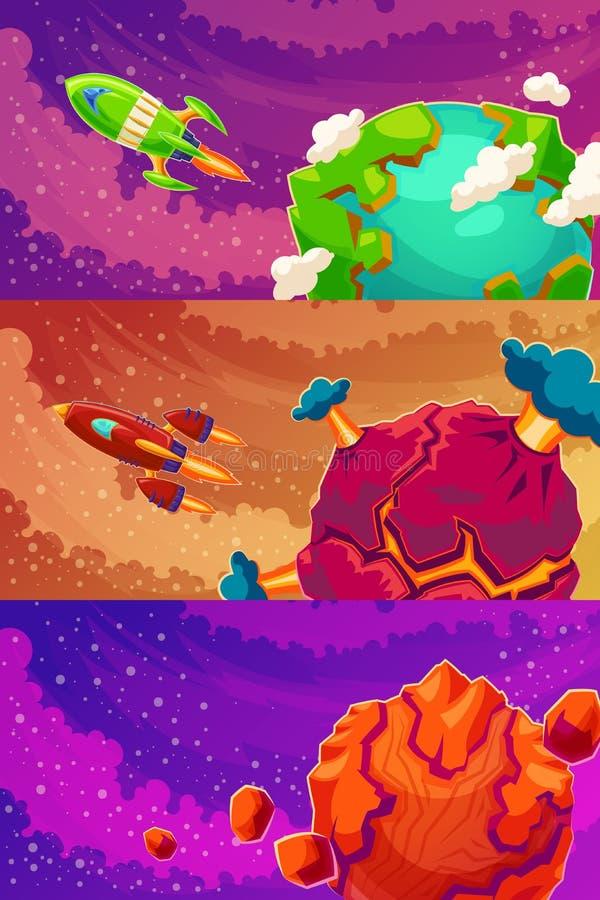 Grupo de bandeiras horizontais do vetor com fantasia dos desenhos animados dos planetas estrangeiros ilustração do vetor