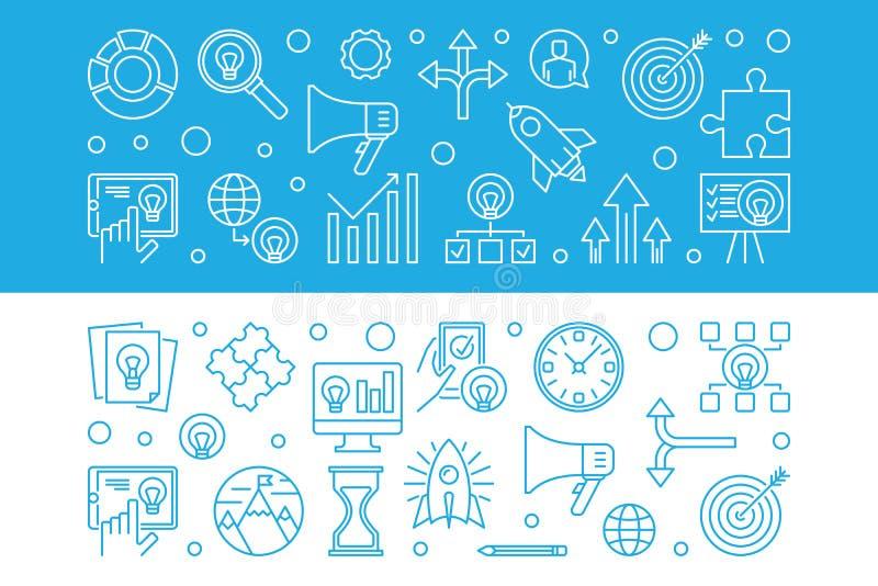 Grupo de 2 bandeiras horizontais do vetor startup na linha estilo fina ilustração stock