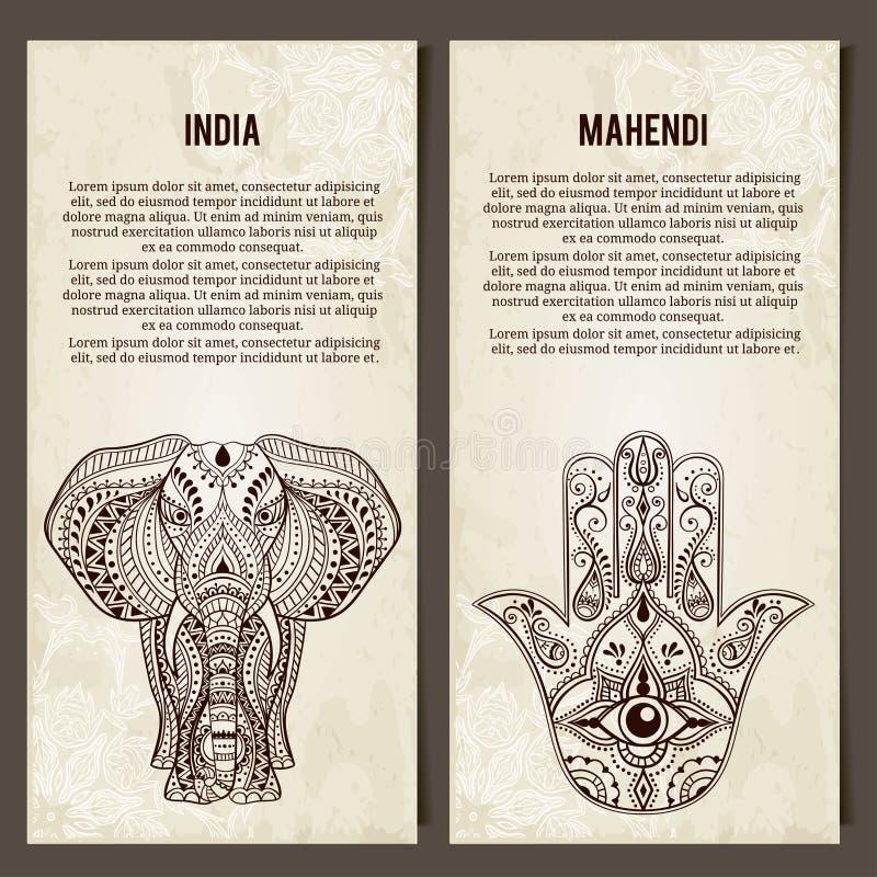 Grupo de bandeiras horizontais dos símbolos da ioga indian ilustração royalty free